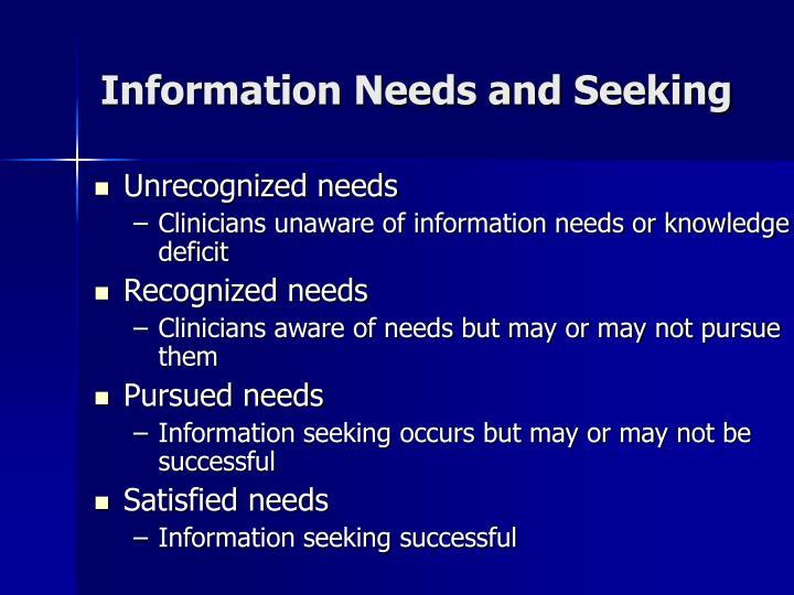 Information Needs and Seeking