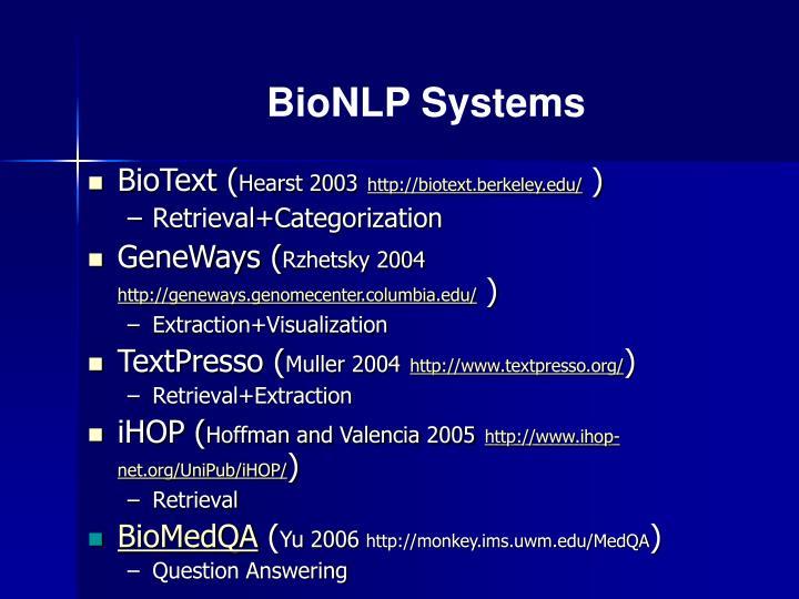 BioNLP Systems