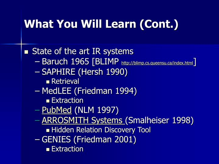 What You Will Learn (Cont.)
