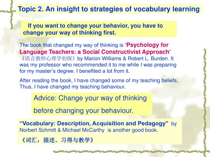 Topic 2. An insight to strategies of vocabulary learning