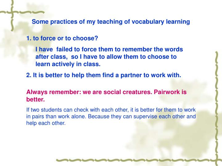 Some practices of my teaching of vocabulary learning