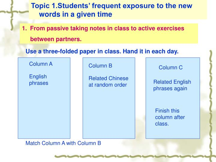 Topic 1.Students' frequent exposure to the new words in a given time