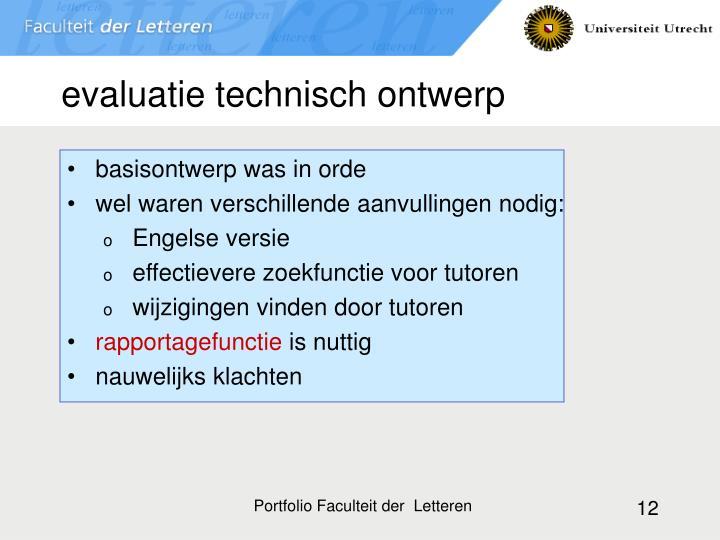 evaluatie technisch ontwerp