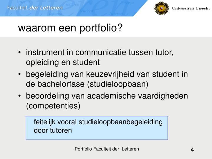 waarom een portfolio?