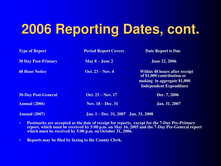 2006 Reporting Dates, cont.