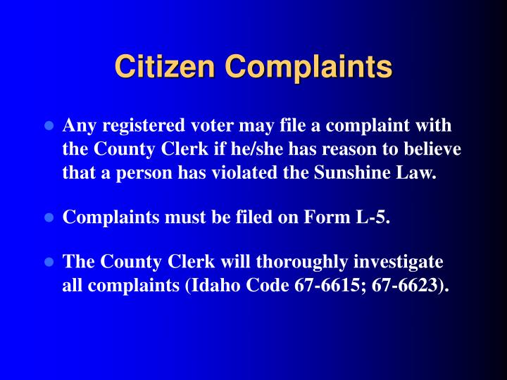 Citizen Complaints