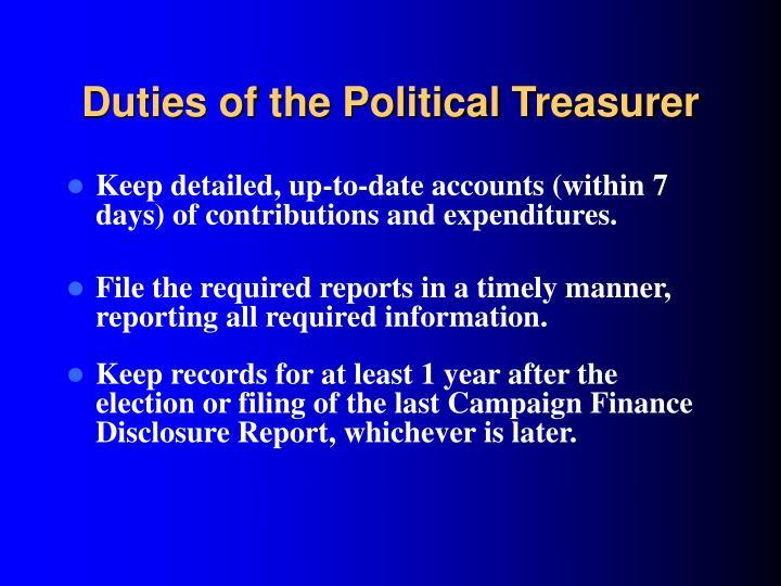 Duties of the Political Treasurer