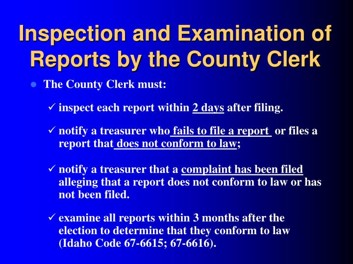 Inspection and Examination of Reports by the County Clerk