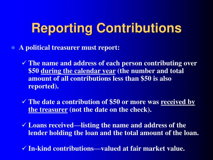 Reporting Contributions