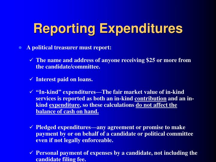 Reporting Expenditures