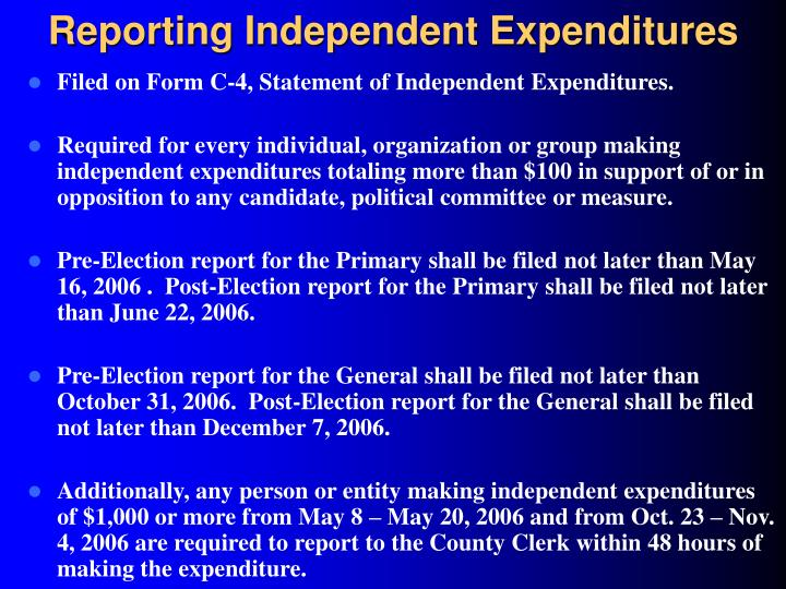Reporting Independent Expenditures