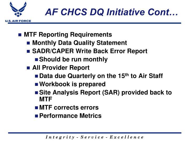 AF CHCS DQ Initiative Cont…