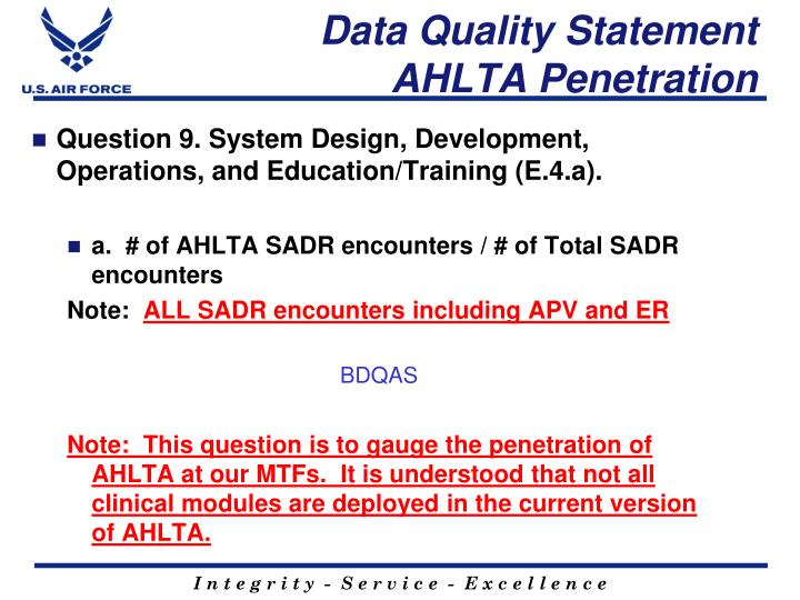Data Quality Statement