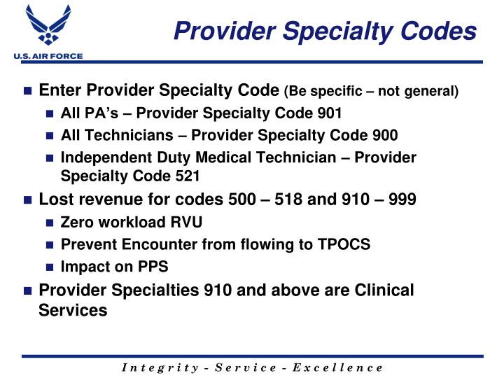 Provider Specialty Codes