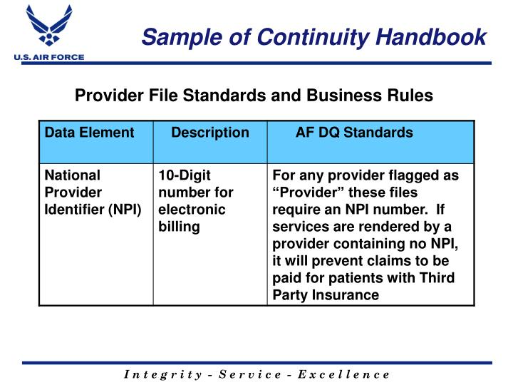 Sample of Continuity Handbook