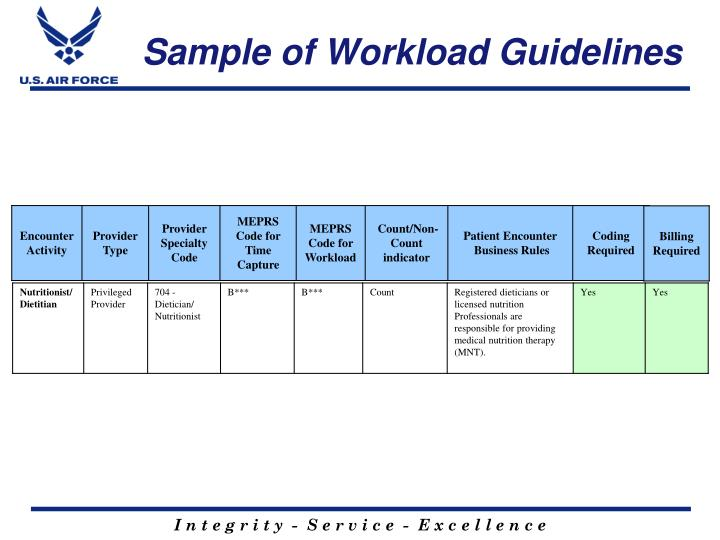 Sample of Workload Guidelines