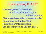 link to existing placet
