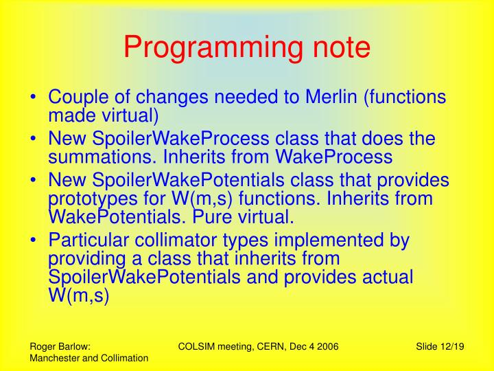 Programming note