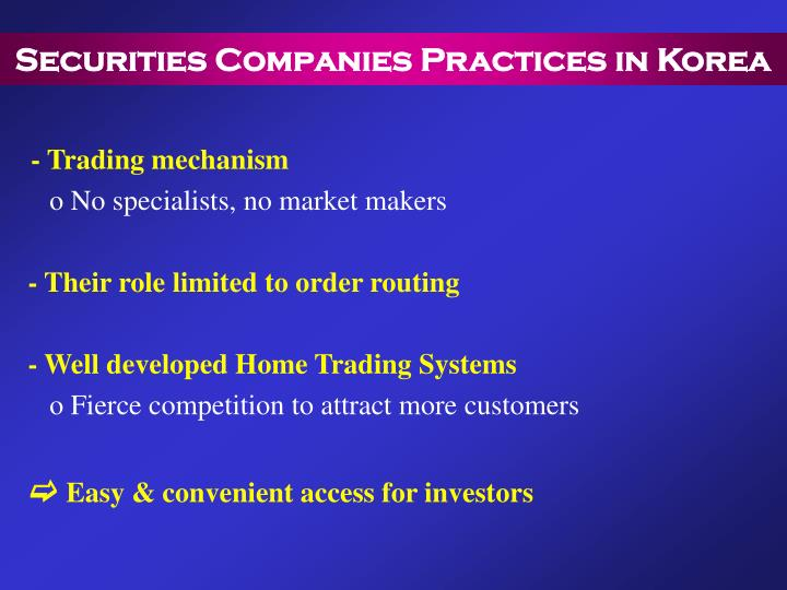 Securities Companies Practices in Korea