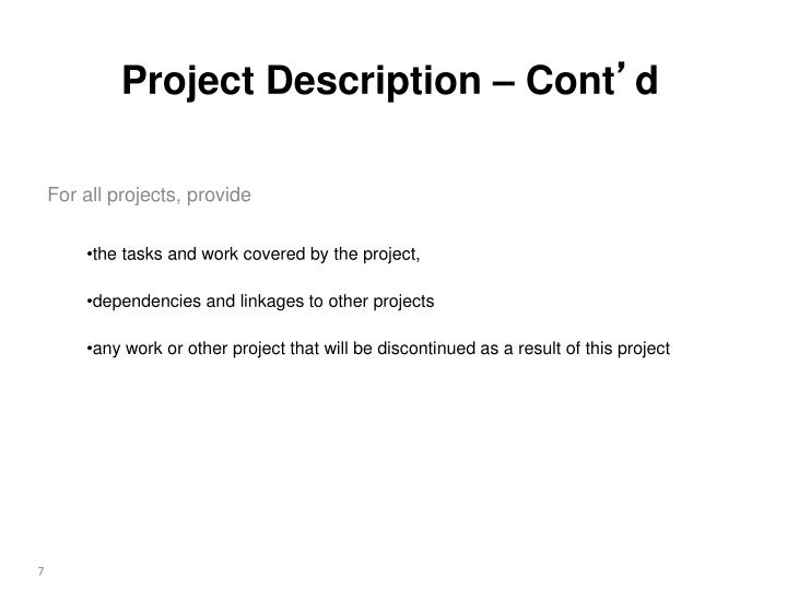 For all projects, provide