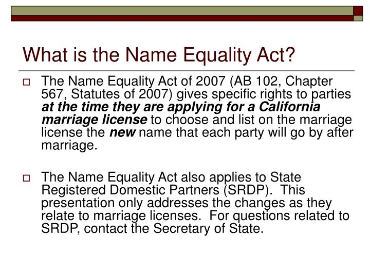 What is the name equality act