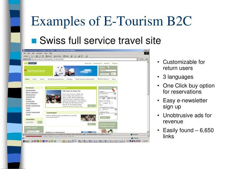 Examples of E-Tourism B2C