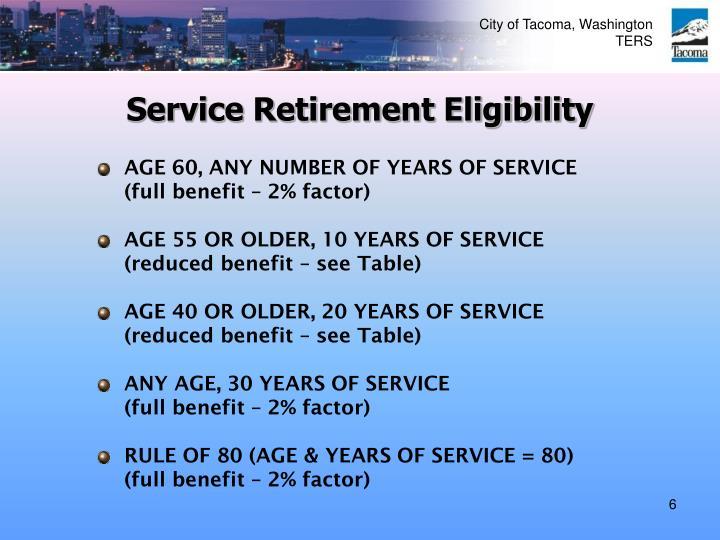 Service Retirement Eligibility