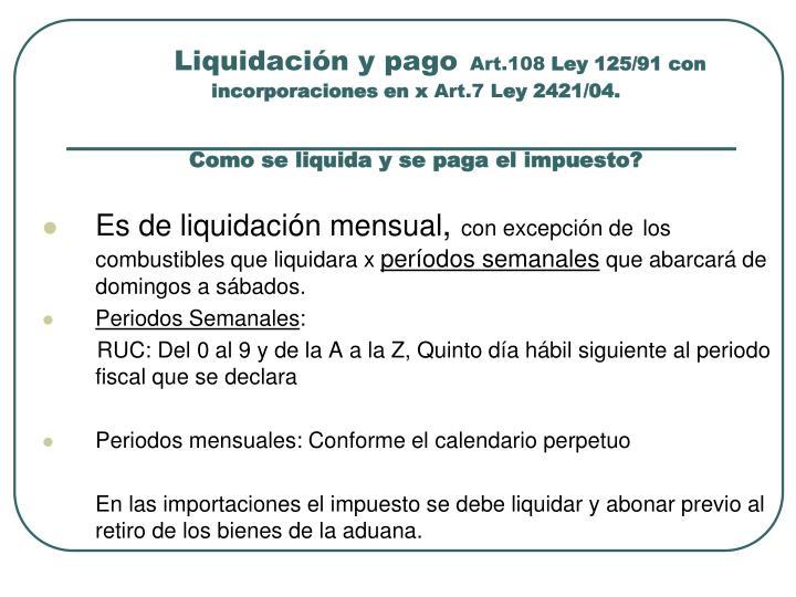 Liquidación y pago
