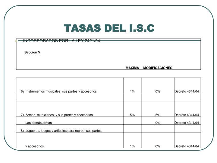 TASAS DEL I.S.C