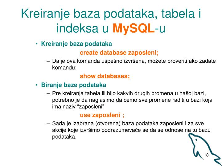 Kreiranje baza podataka, tabela