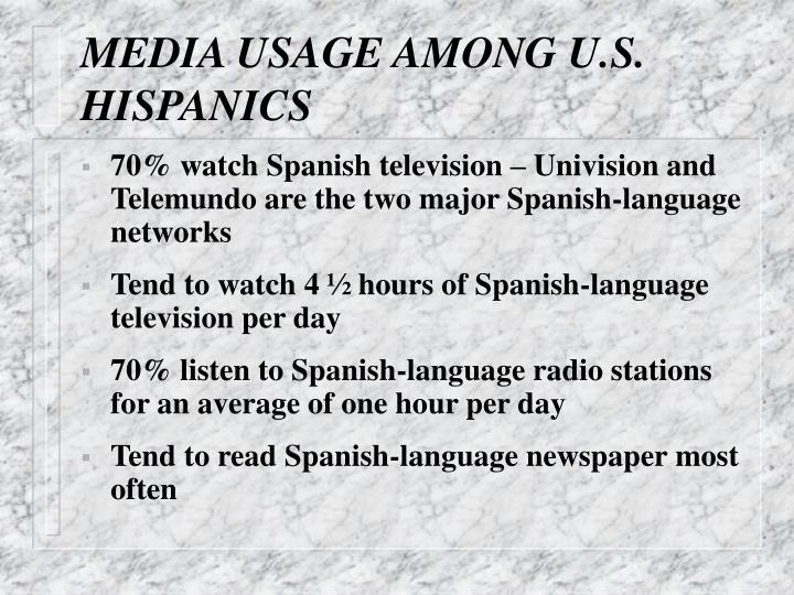MEDIA USAGE AMONG U.S. HISPANICS