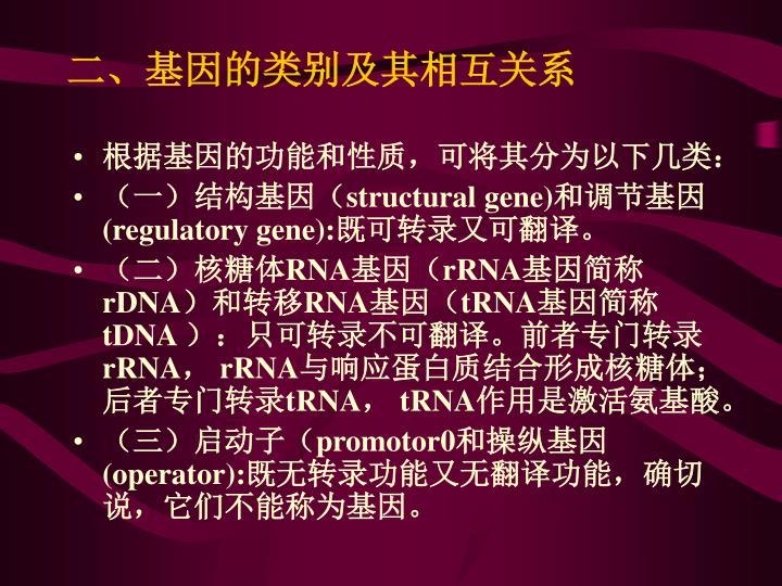 二、基因的类别及其相互关系