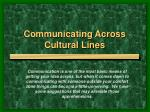 communicating across cultural lines