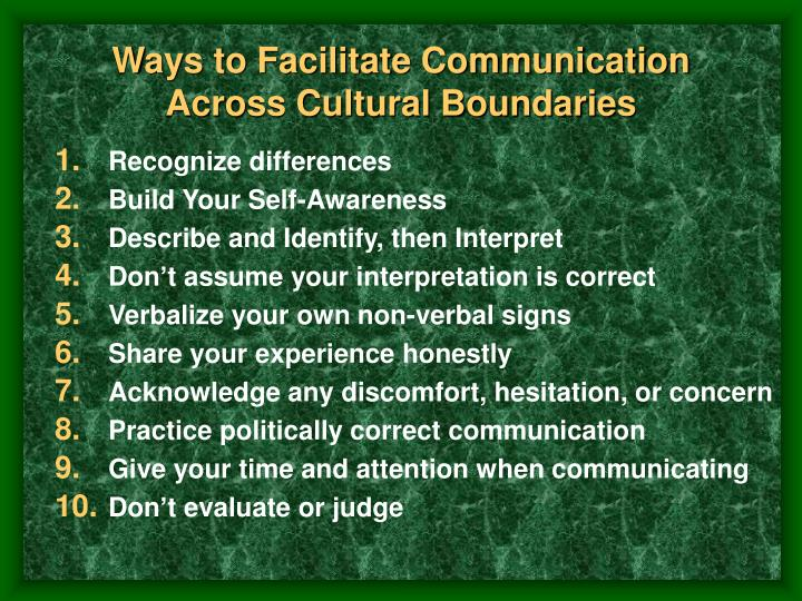 Ways to Facilitate Communication Across Cultural Boundaries
