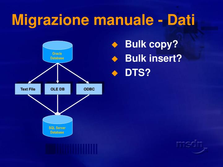 Migrazione manuale - Dati