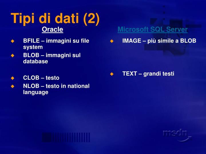 Tipi di dati (2)