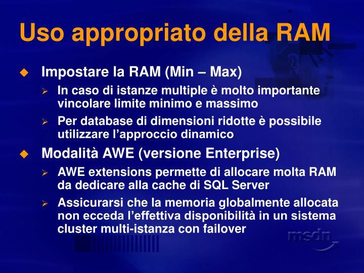Uso appropriato della RAM