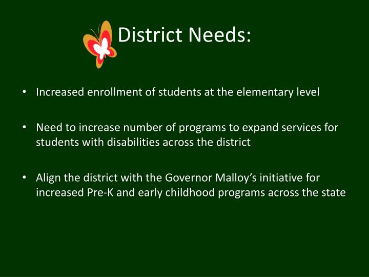 District Needs: