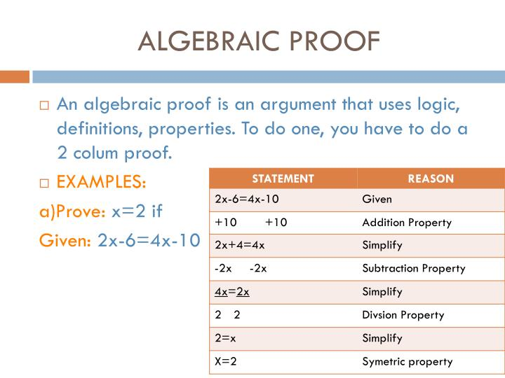 ALGEBRAIC PROOF
