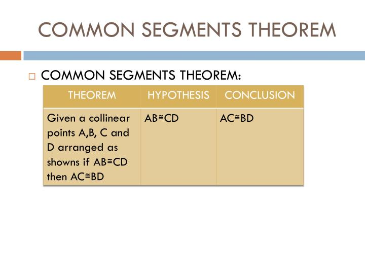 COMMON SEGMENTS THEOREM