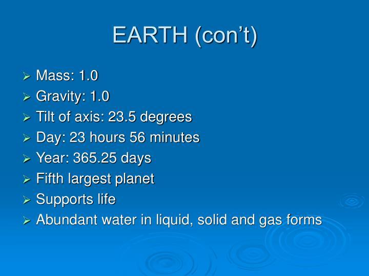 EARTH (con't)
