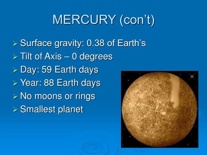 MERCURY (con't)