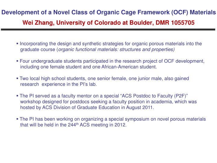 Development of a Novel Class of Organic Cage Framework (OCF) Materials