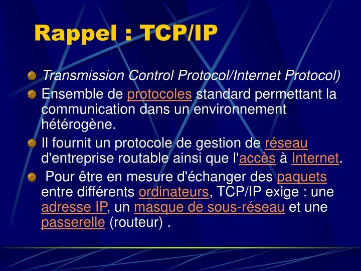 Rappel : TCP/IP