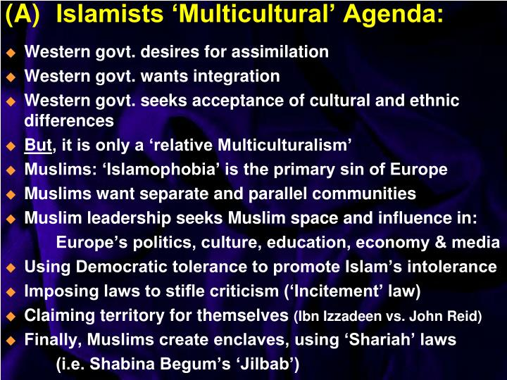 A islamists multicultural agenda