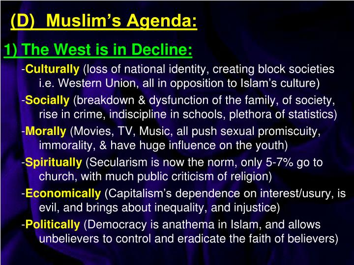 1)	The West is in Decline: