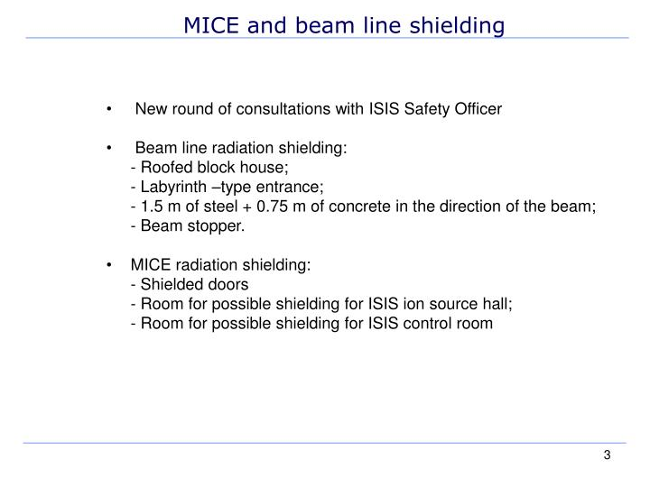 MICE and beam line shielding
