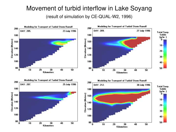 Movement of turbid interflow in Lake Soyang