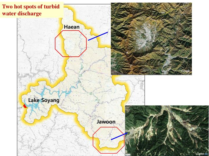 Two hot spots of turbid water discharge