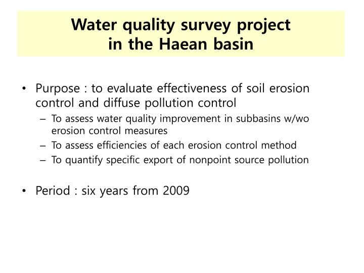 Water quality survey project